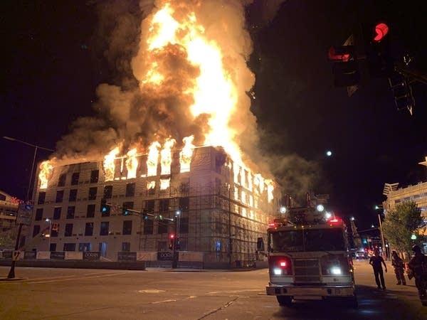 Firefighters battle a large blaze.