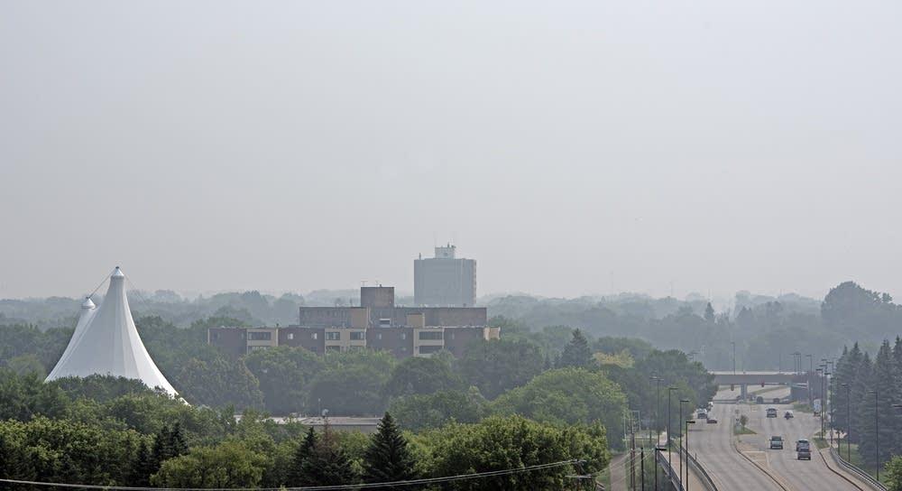 A smokey haze over Moorhead, Minn.