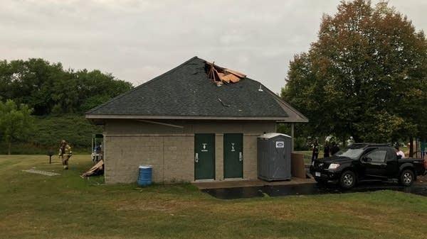 Lightning damage to park shelter