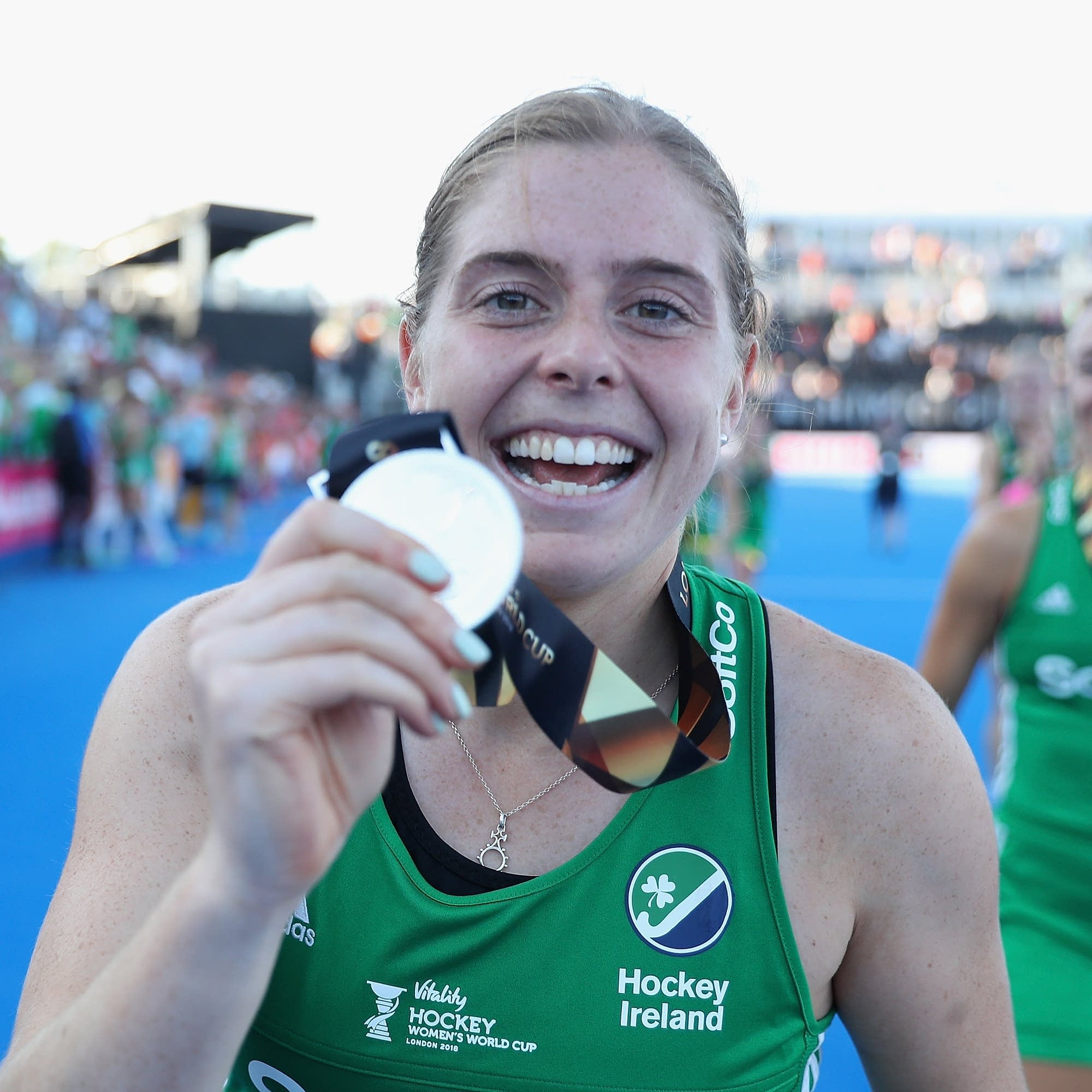 Kathryn Mullan of Ireland celebrates at the Women's World Cup.