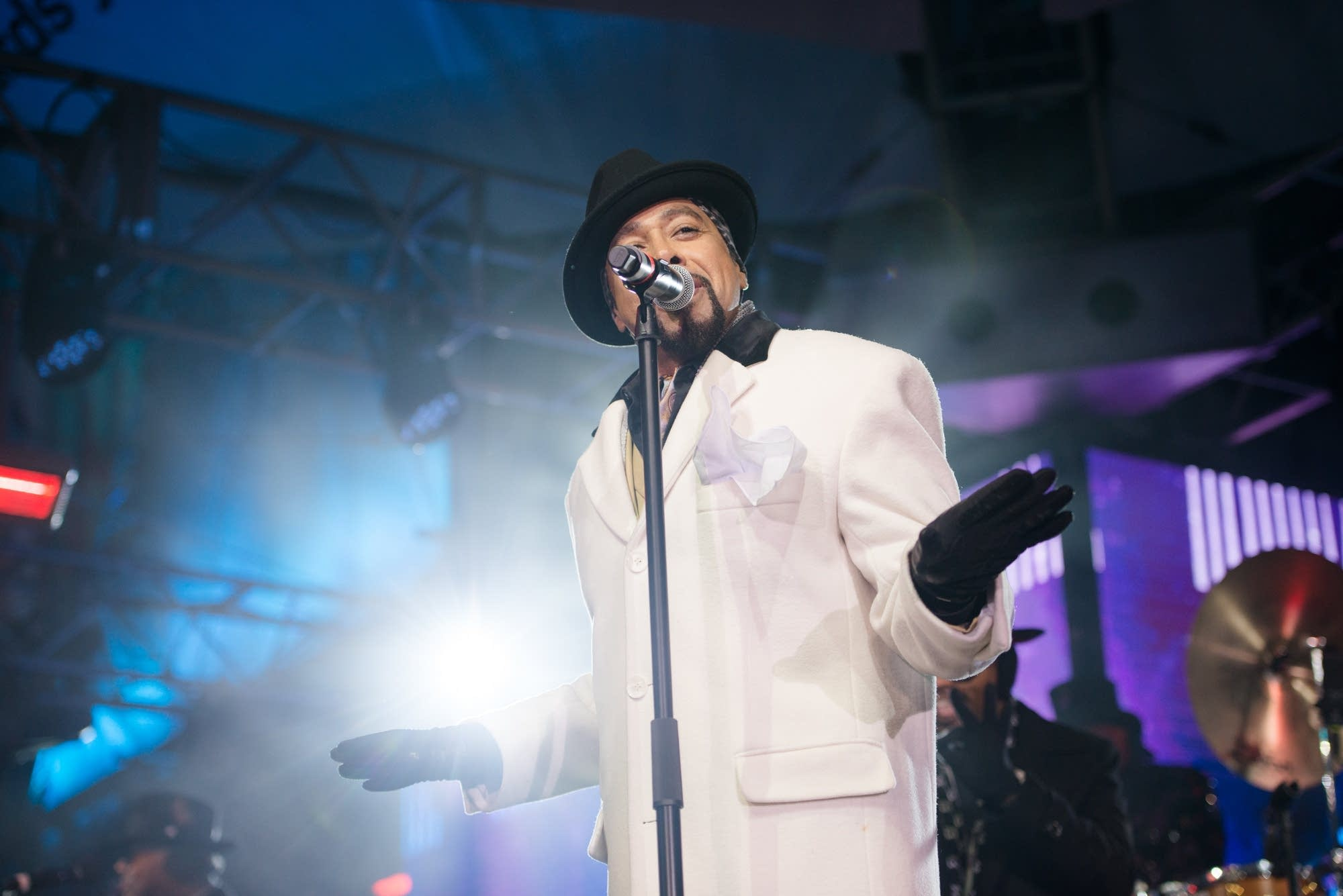 Morris Day performs in front of the IDS Center in Minneapolis.