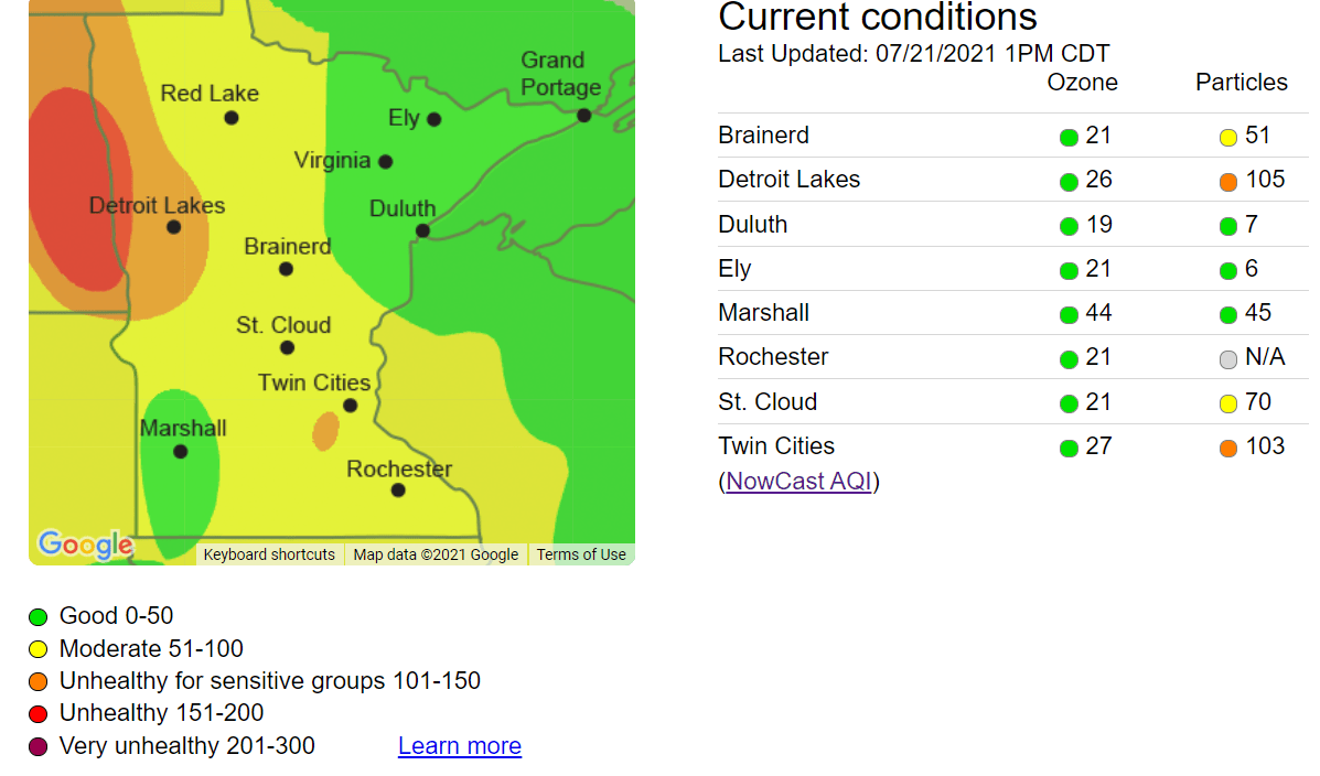 Air Quality Index Wednesday afternoon