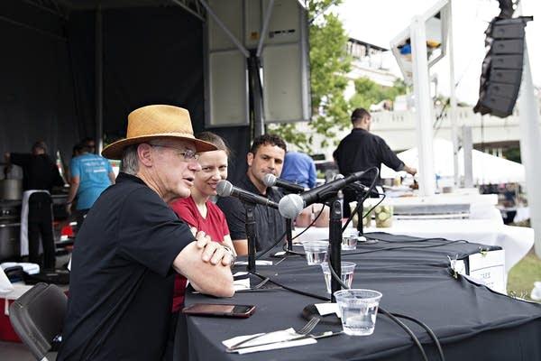 Gary Wertish, Elizabeth Dunbar and Jake Pettit on a panel at the fair.
