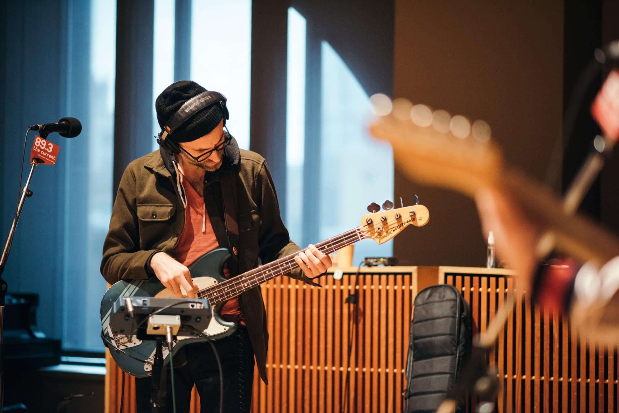Bassist Chris Morrissey performs in studio