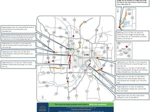 Weekend traffic impacts for Nov. 16-18.