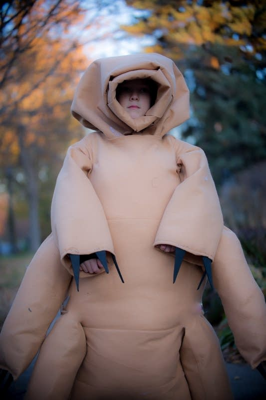 A child dressed up to look like a tardigrade.
