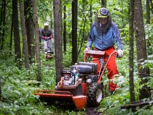 Volunteers push mowers down the trail