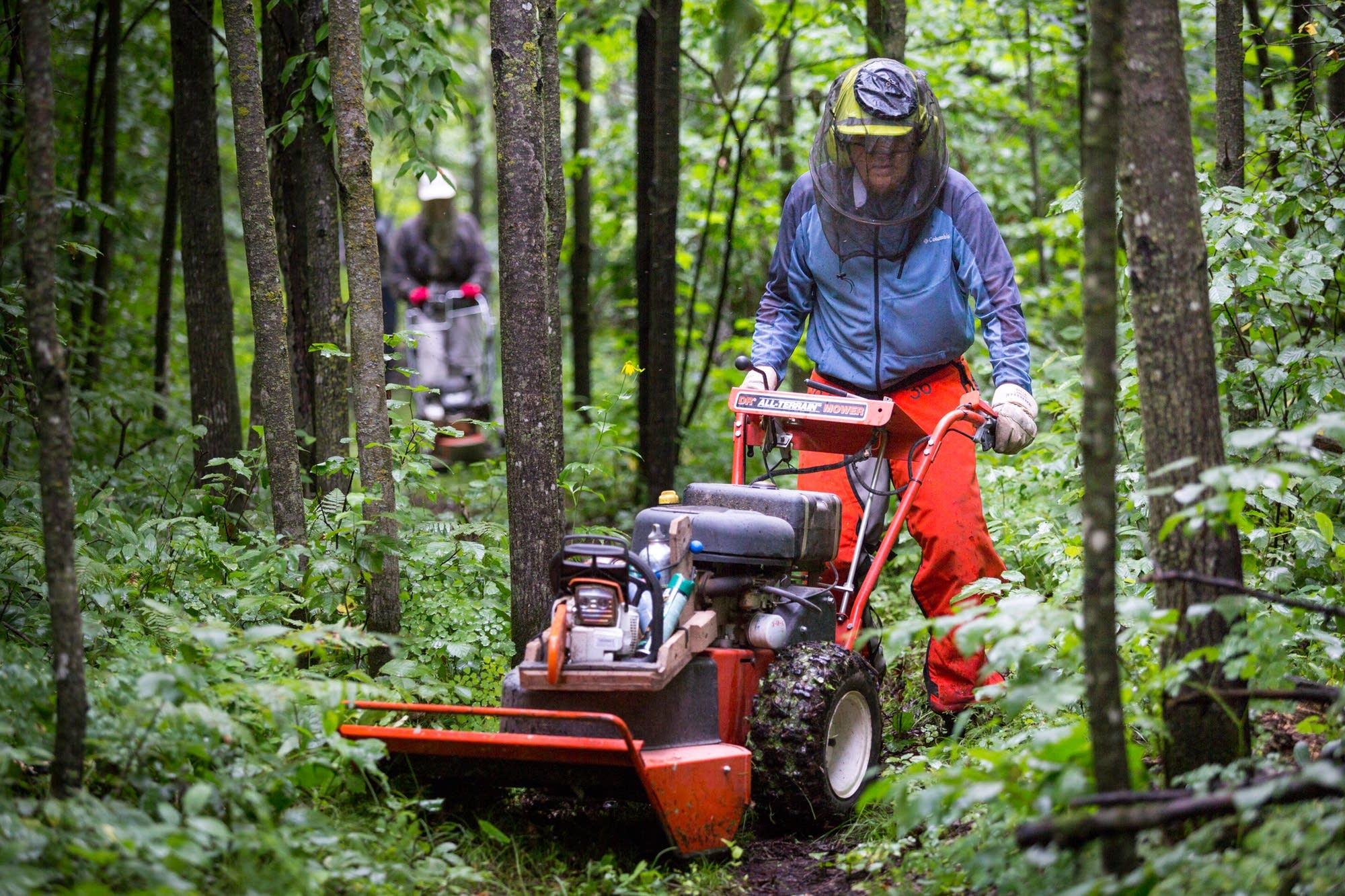 Volunteers push mowers down the trail