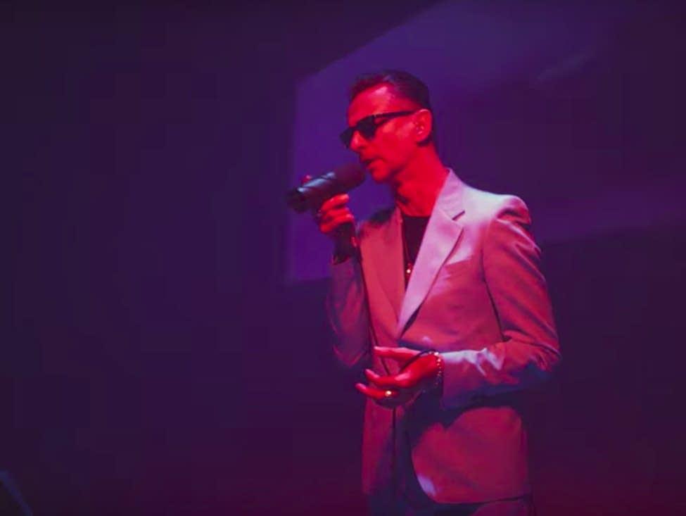 Dave Gahan of Depeche Mode sings 'Heroes.'