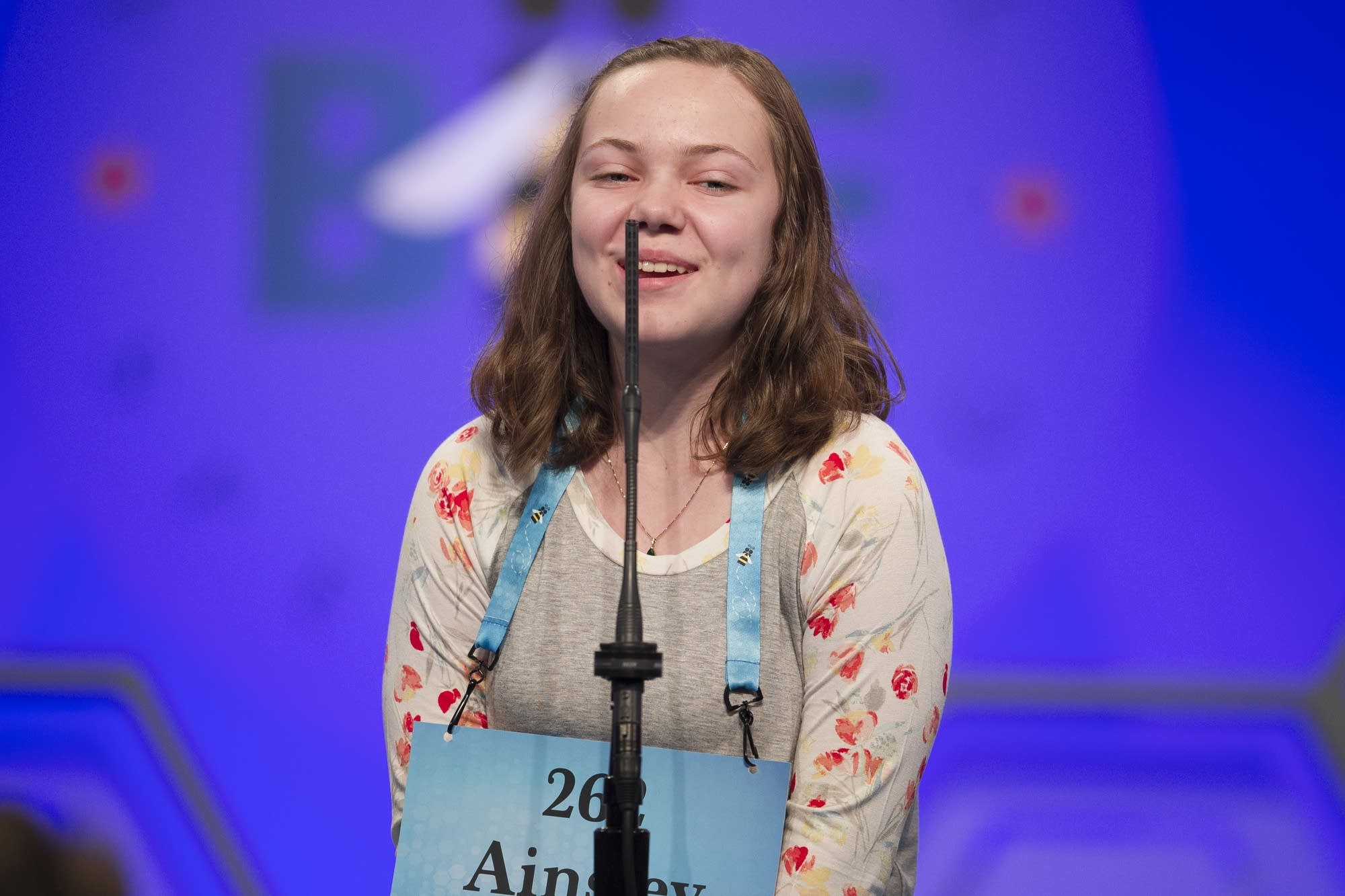 Ainsley Boucher, 13, from Crookston, Minn., spells her word correctly.