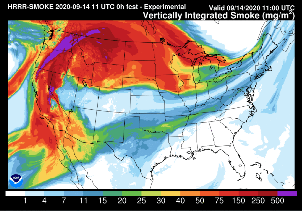 NOAA HRRR model vertically integrated smoke product