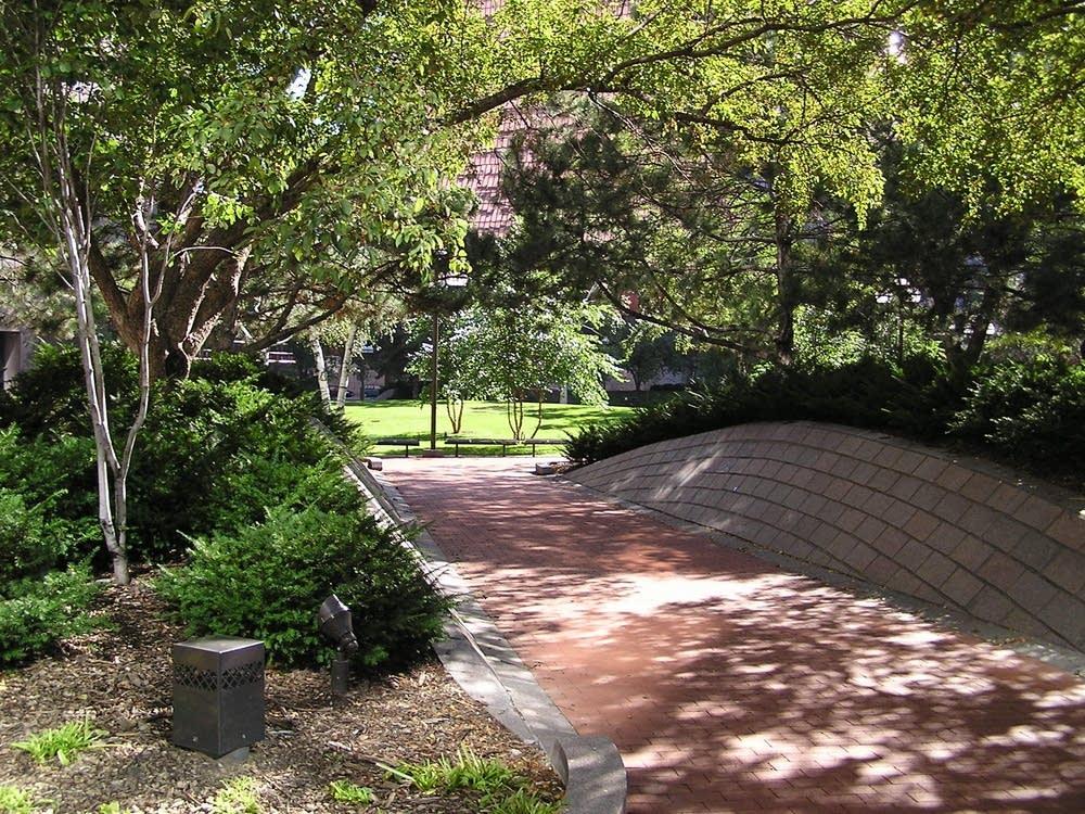 Wide sidewalks and plantings