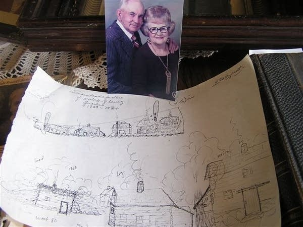 Ole Melankton and Mae Olson and a drawing