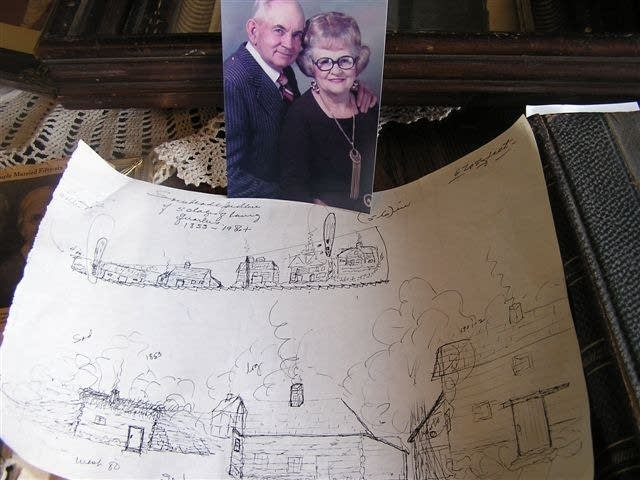 Ole Melankton and Mae Olson and a drawing