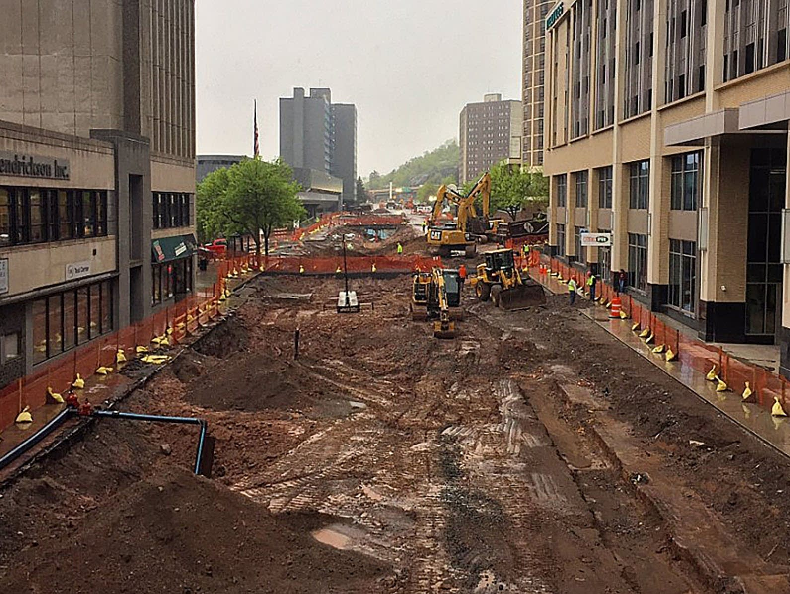 Superior Street construction in Duluth