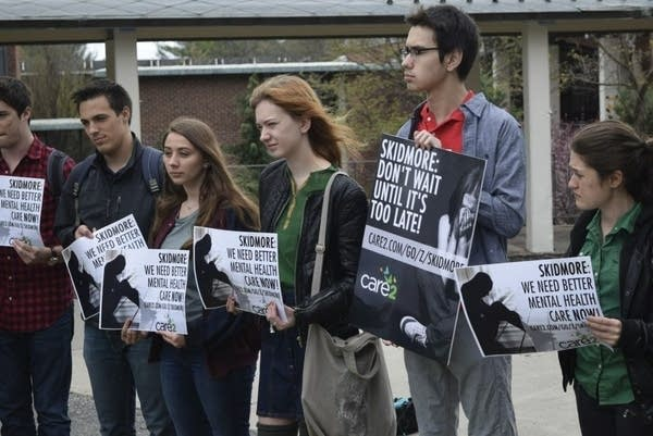 Skidmore College students rally for more mental health services on campus.
