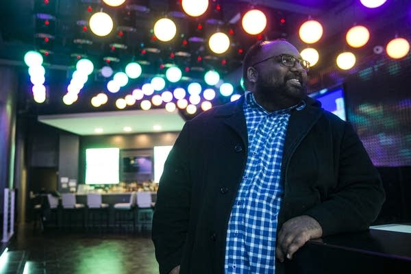 Harshal Patel, owner of luMINN hotel in Minneapolis, stands for a portrait