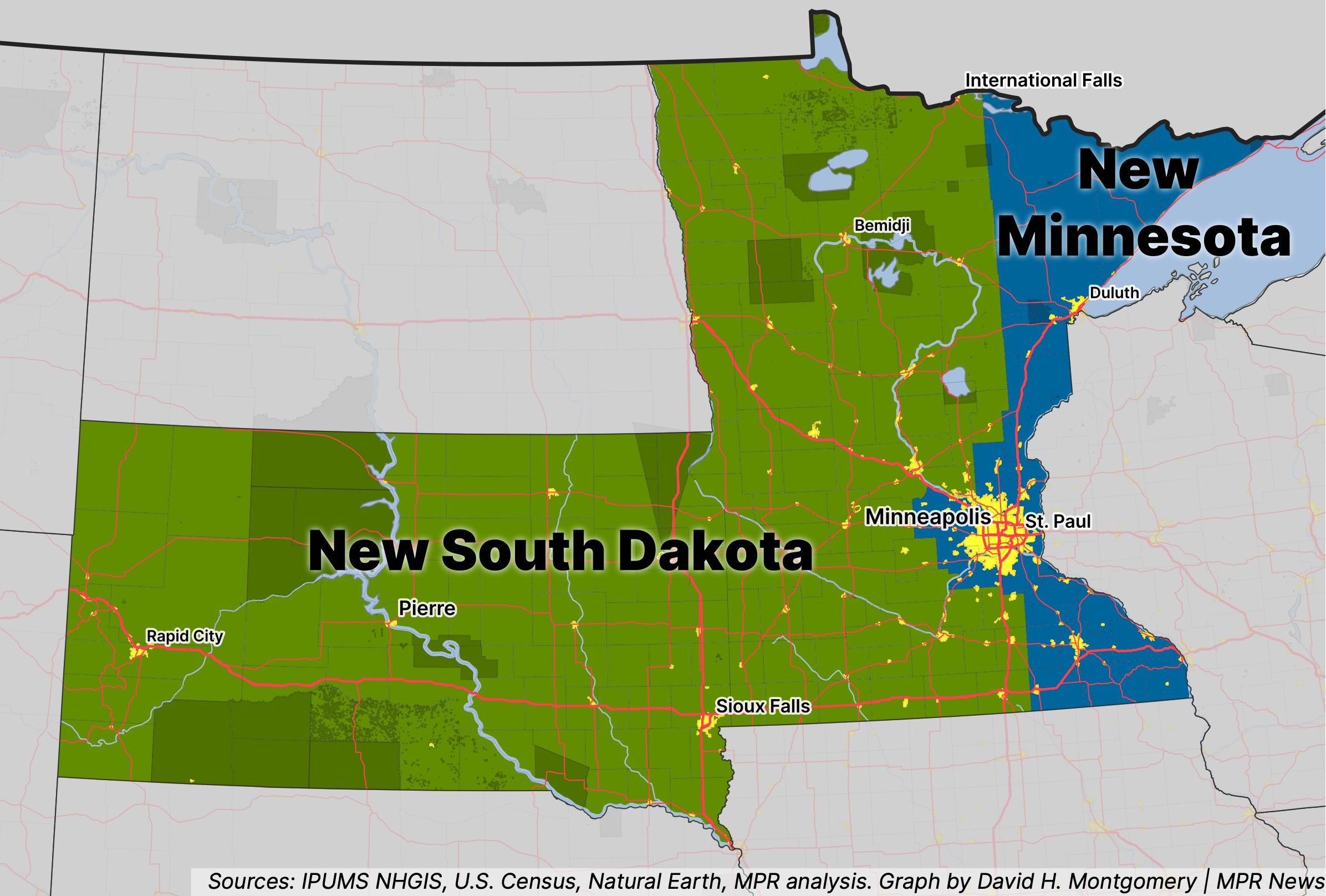 Map of a scenario where western Minnesota seceded and joined South Dakota