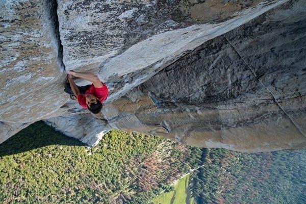 Alex Honnold free soloing El Capitan.