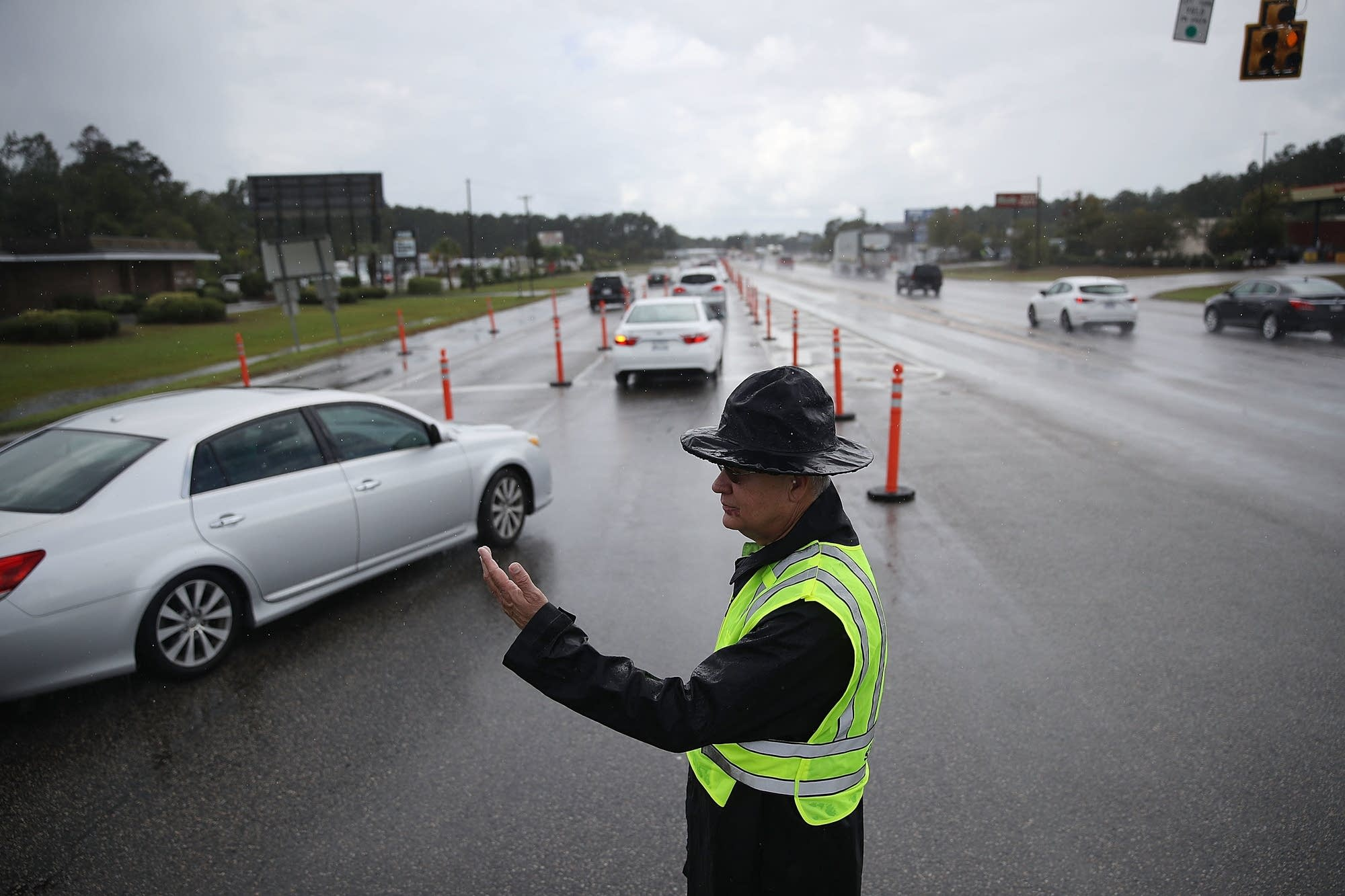 Jack Ross from the South Carolina Highway Patrol directs traffic.