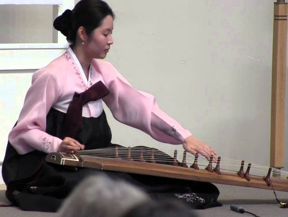 Soojin Lee plays gayageum, a traditional Korean instrument