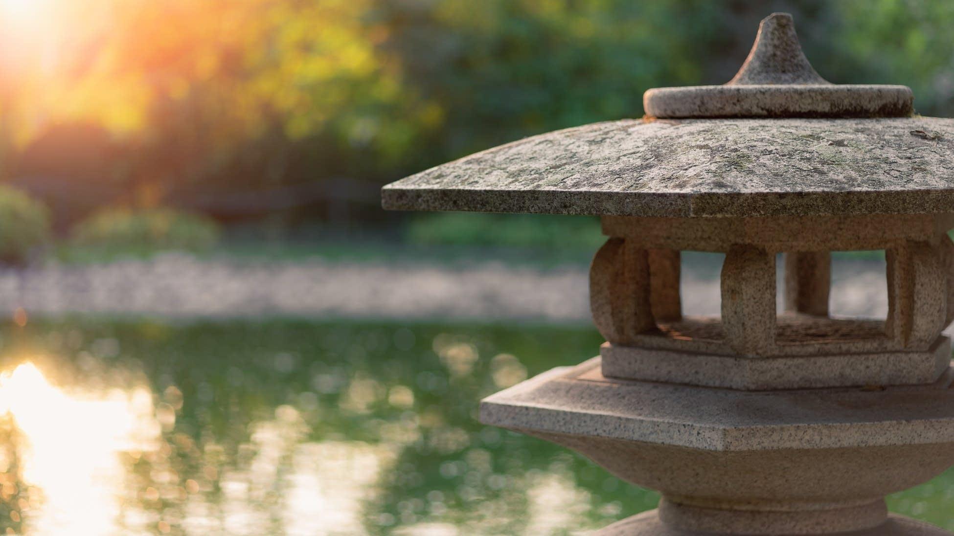 Lantern in a Zen garden.