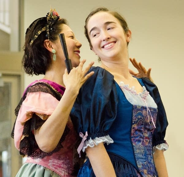 "Sun Mee Chomet and Thallis Santesteban in ""The Sins of Sor Juana."""