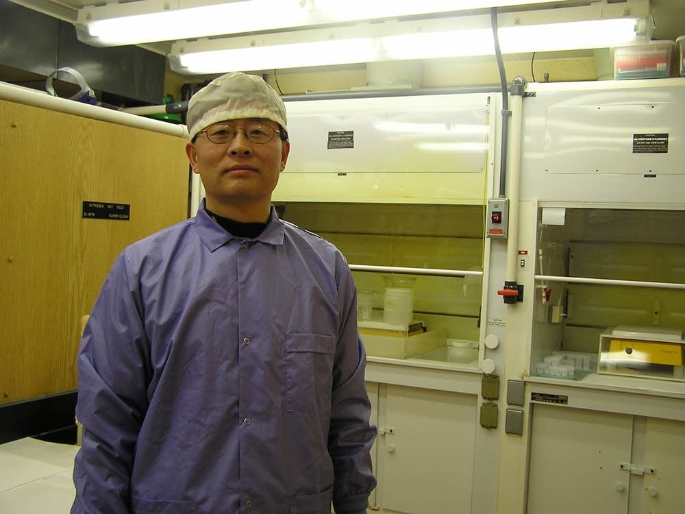 Hai Cheng in his chemistry lab