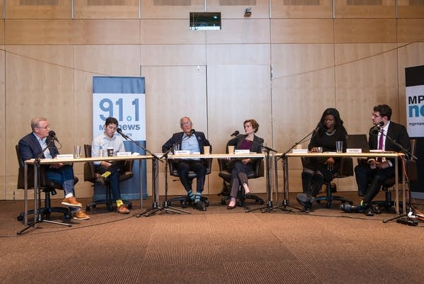 Candidates for Minneapolis mayor, all DFLers, debated Monday.