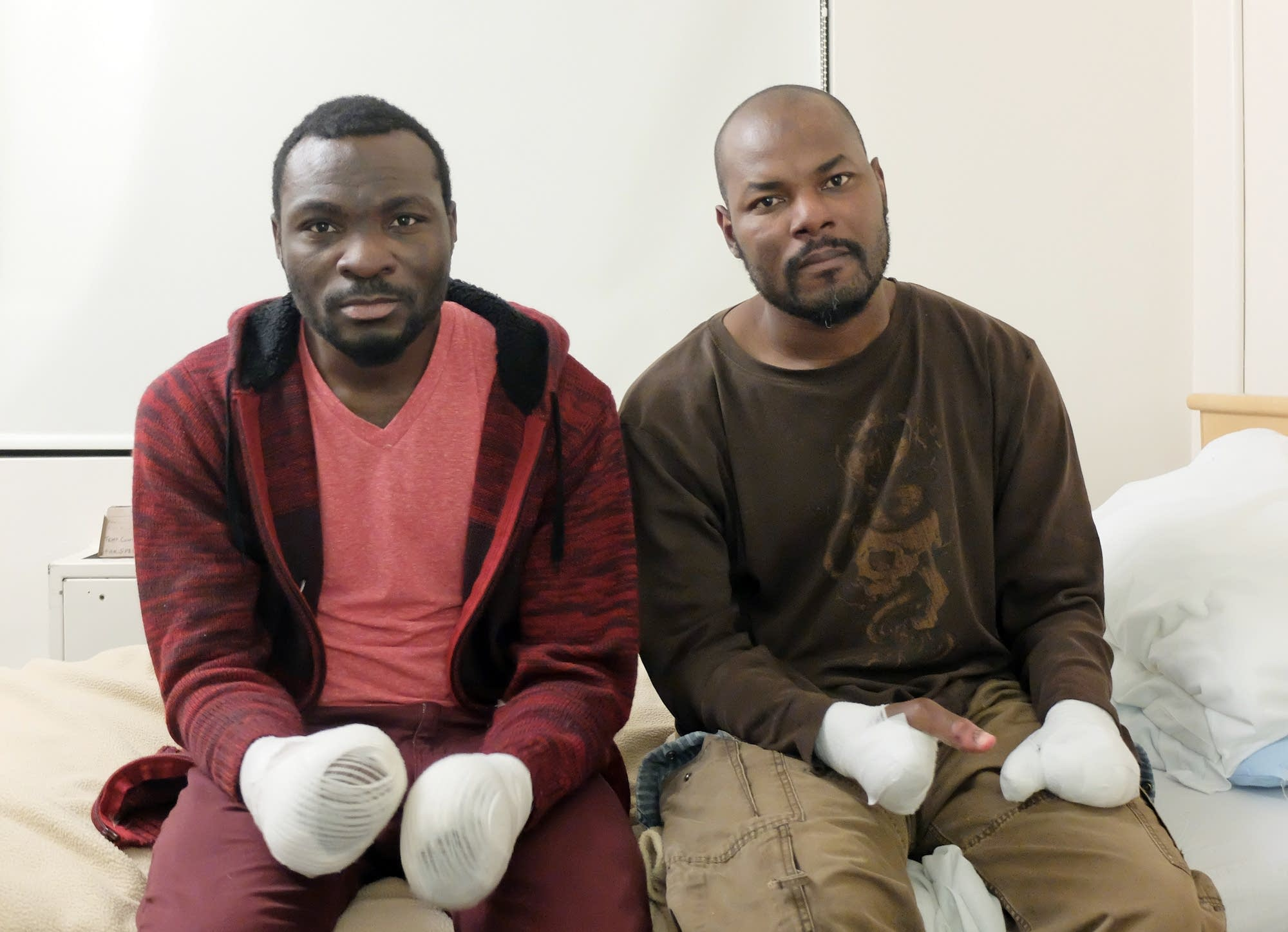 Seidu Mohammed, left, and Razak Iyal lost limbs to frostbite.