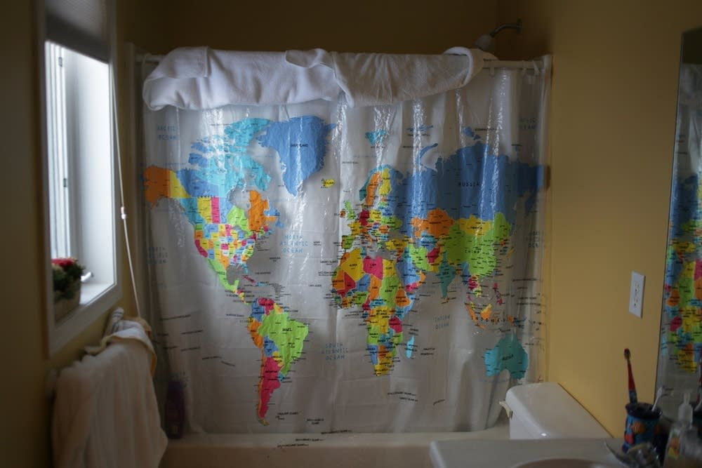 Geographic shower curtain