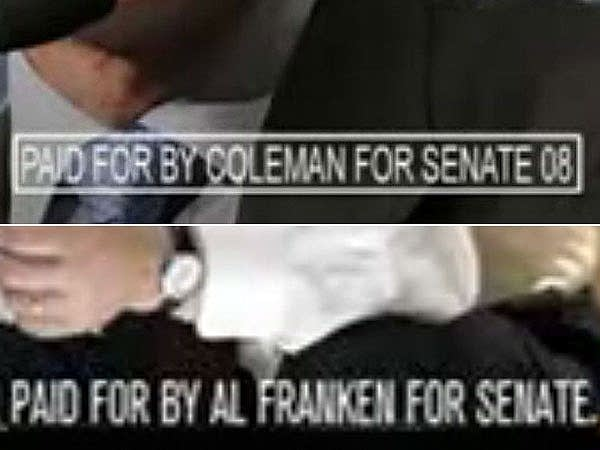 Ad banners for Norm Coleman and Al Franken