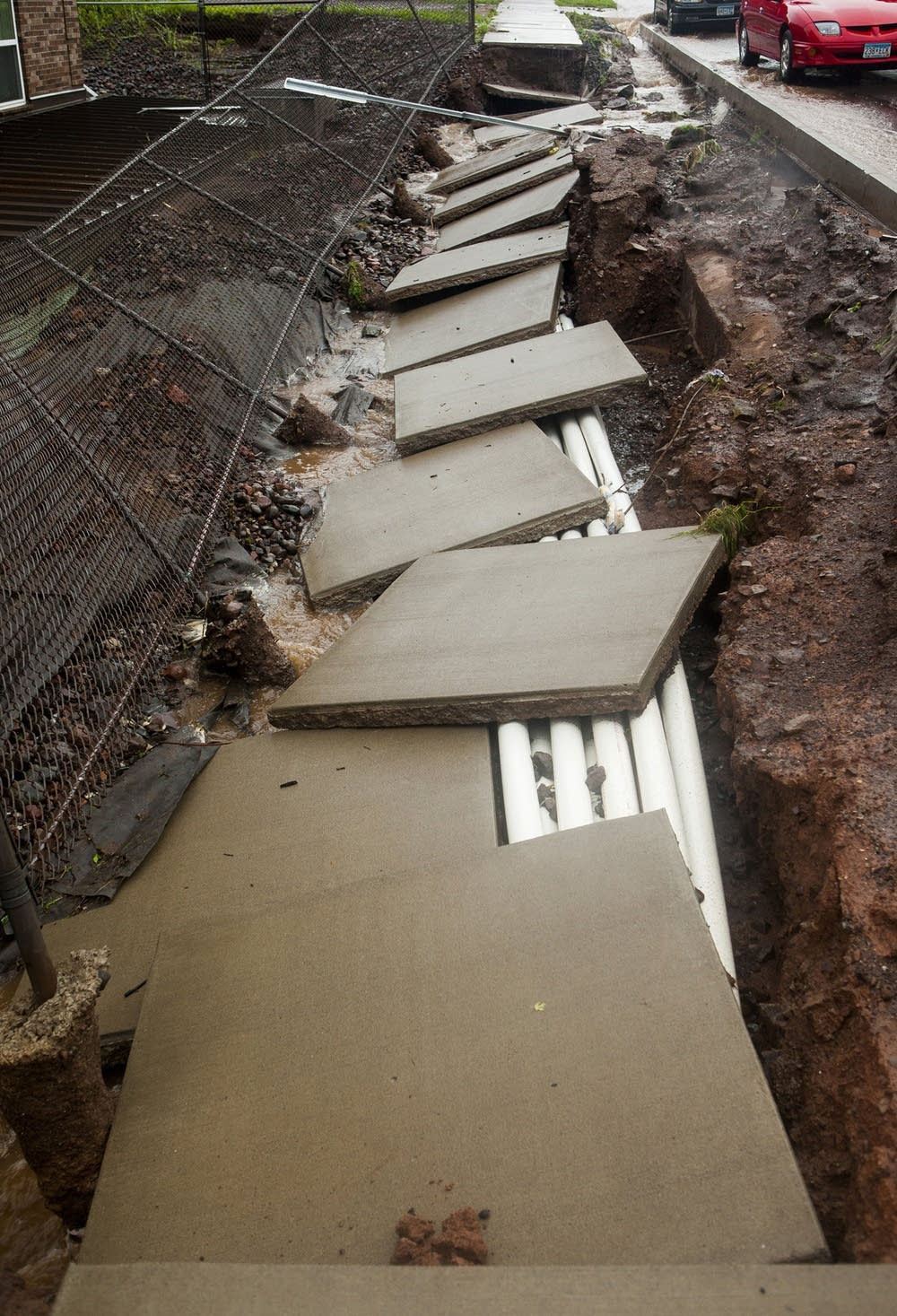 Duluth sidewalks after flood