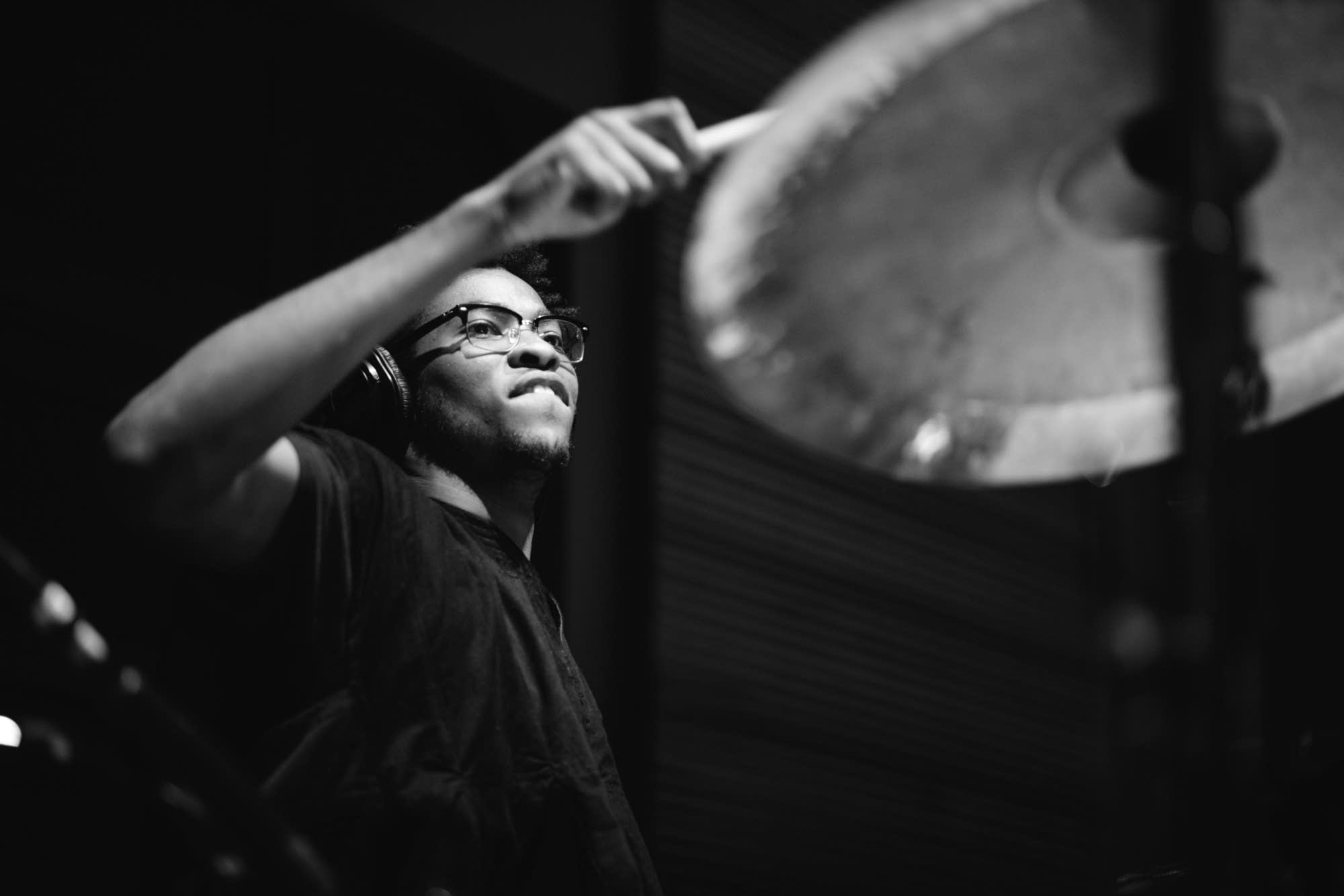 L.A. Buckner drums for Thomas Abban in The Current's studio