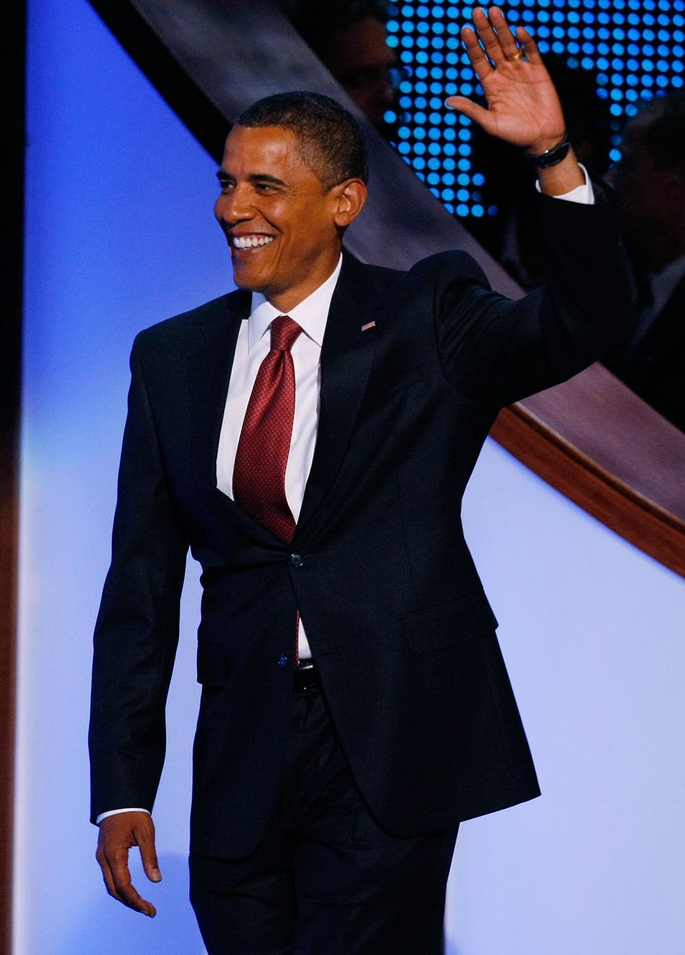 Barack Obama takes the stage at the DNC