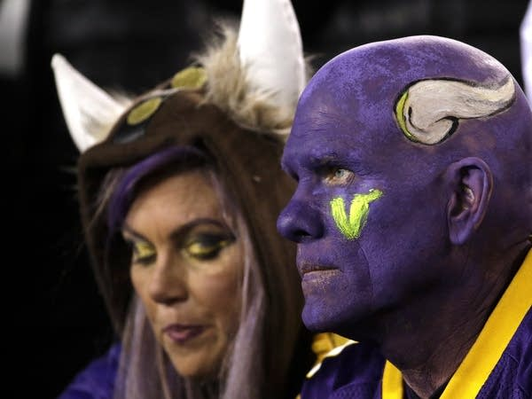 Vikings fans watch during the second half of the NFC championship game.
