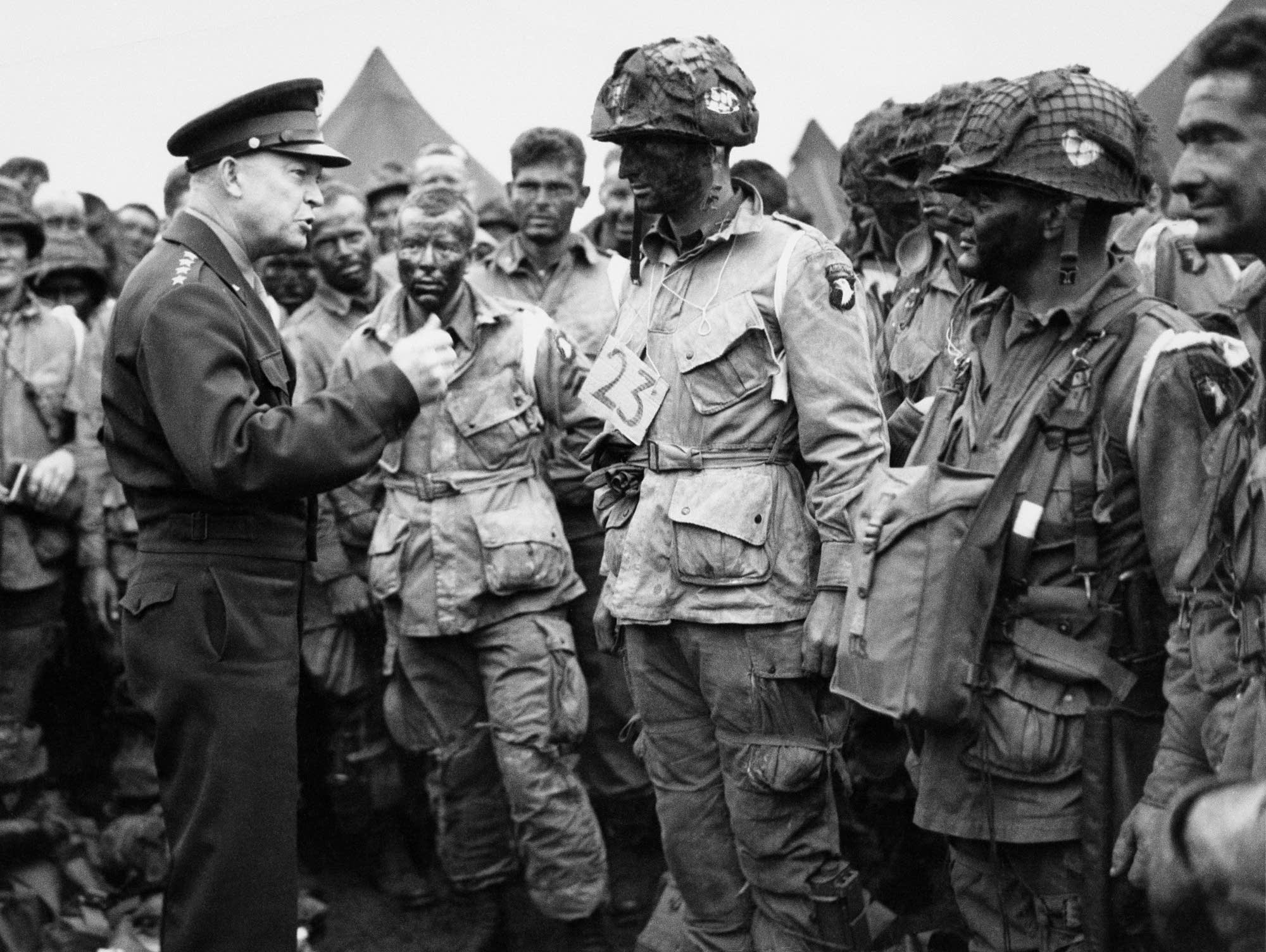 U.S. Gen. Dwight D. Eisenhower gives orders to paratroopers on D-Day