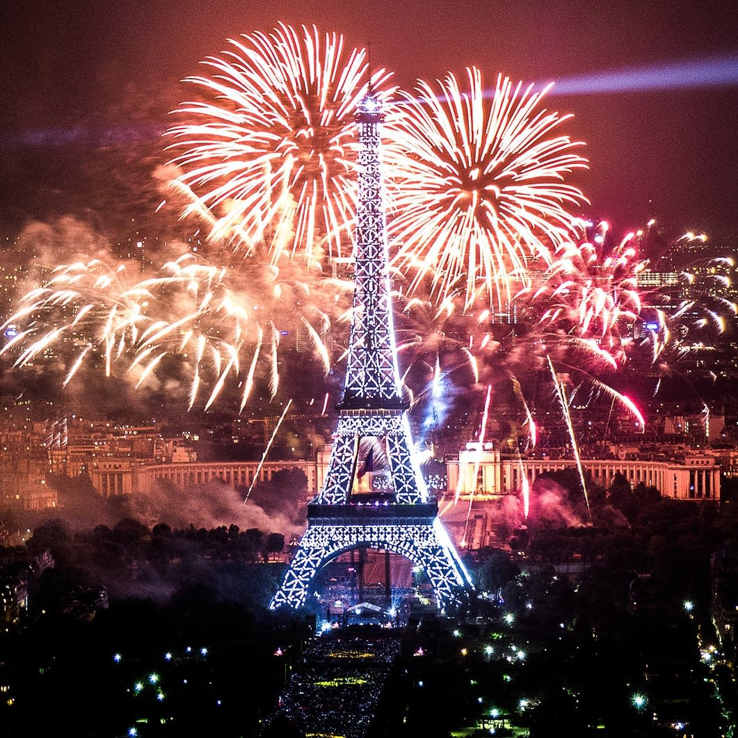 Eiffel Tower with fireworks on Bastille Day