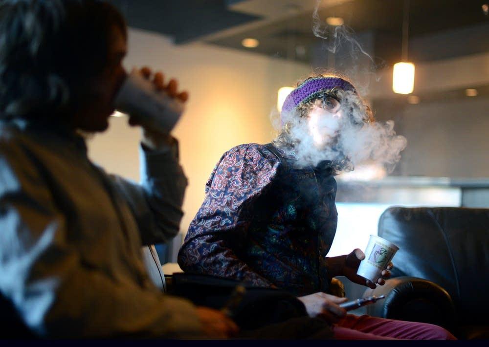 Smoking an e-cigarette