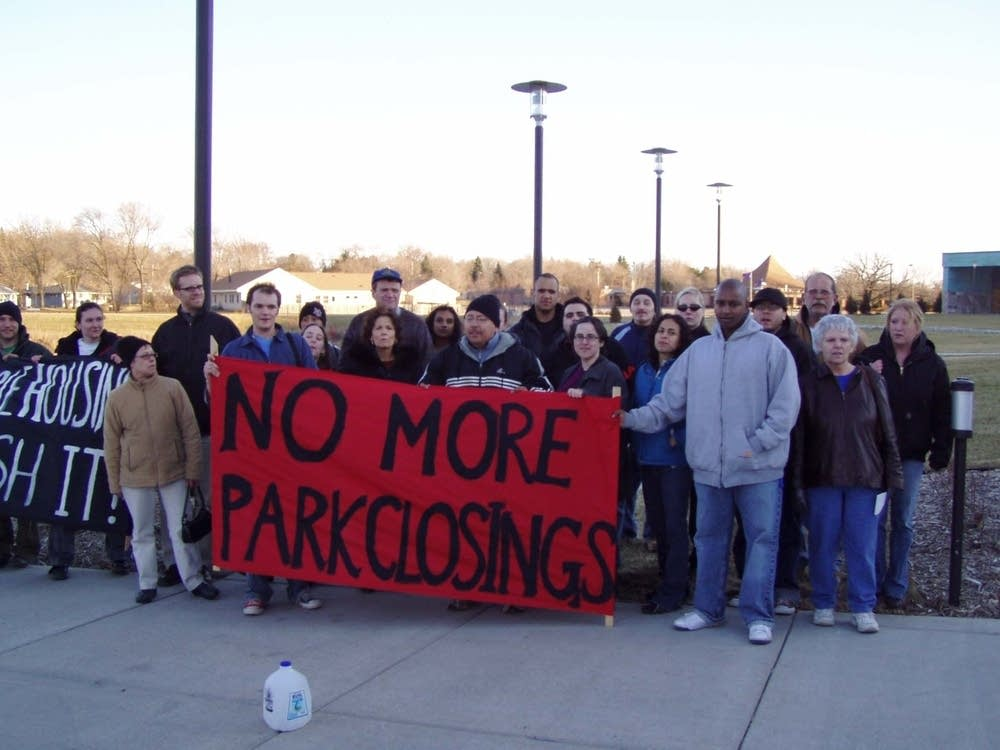 Protest over mobile home park closing