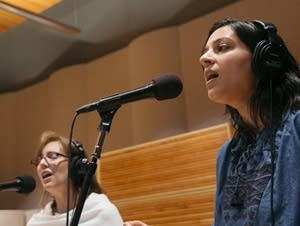 Nila Bala, Rachel LaViola, and Sarah Larsson sing as the Nightingale Trio
