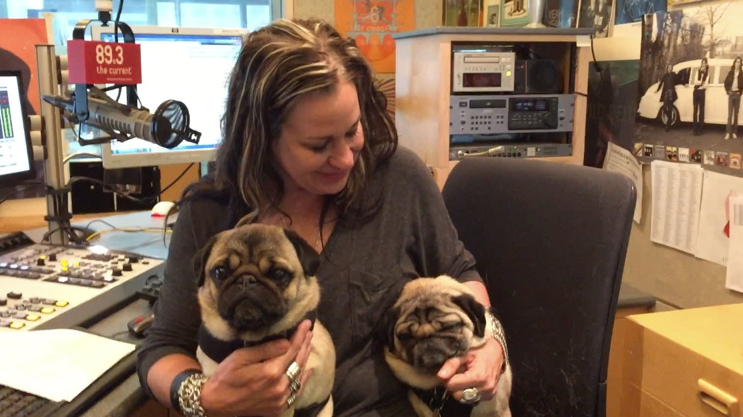 Mary Lucia hangs out in the studio with Lefty and Crash.
