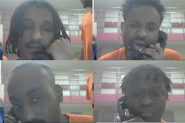A collage of four men talking on the phone during a video phone call.