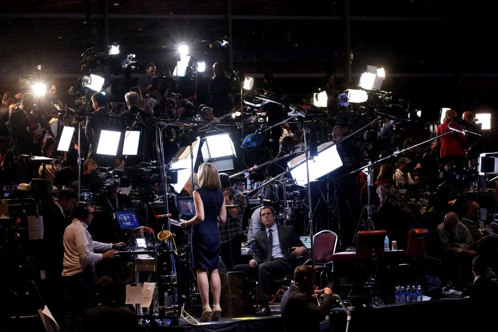 The news media preps at Romney headquarters