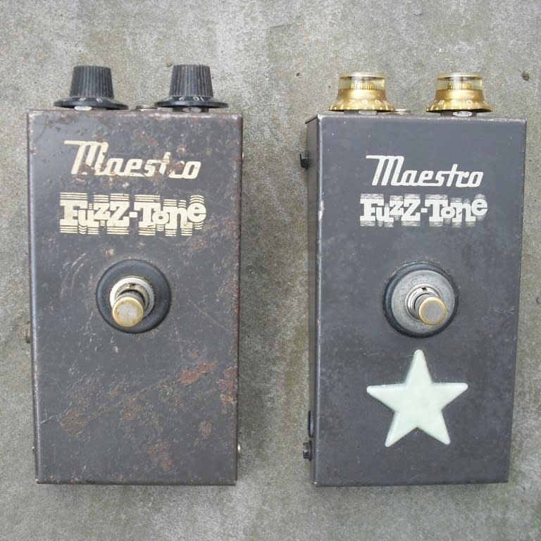 A pair of Maestro Fuzz-Tone pedals.