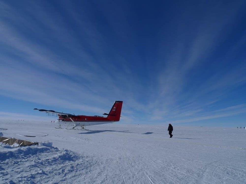 A small research plane in Antarctica