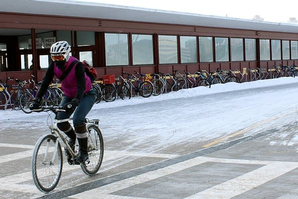 Biking across Washington Ave. Bridge