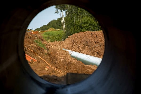A new segment of pipeline sits in the ground Friday, September 1, 2017.