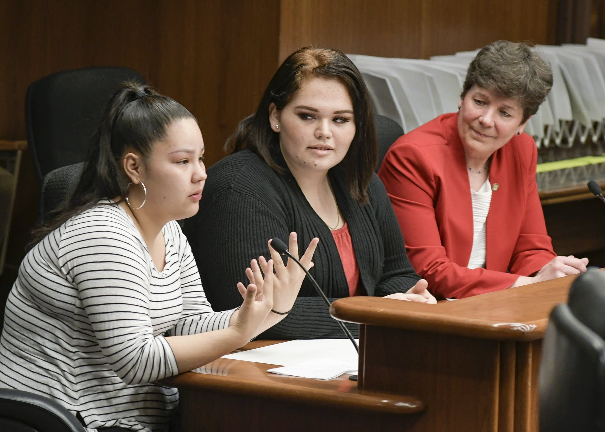 Sasha Martin and Vivianna Castillo-Roybal joined Rep. Peggy Bennett.
