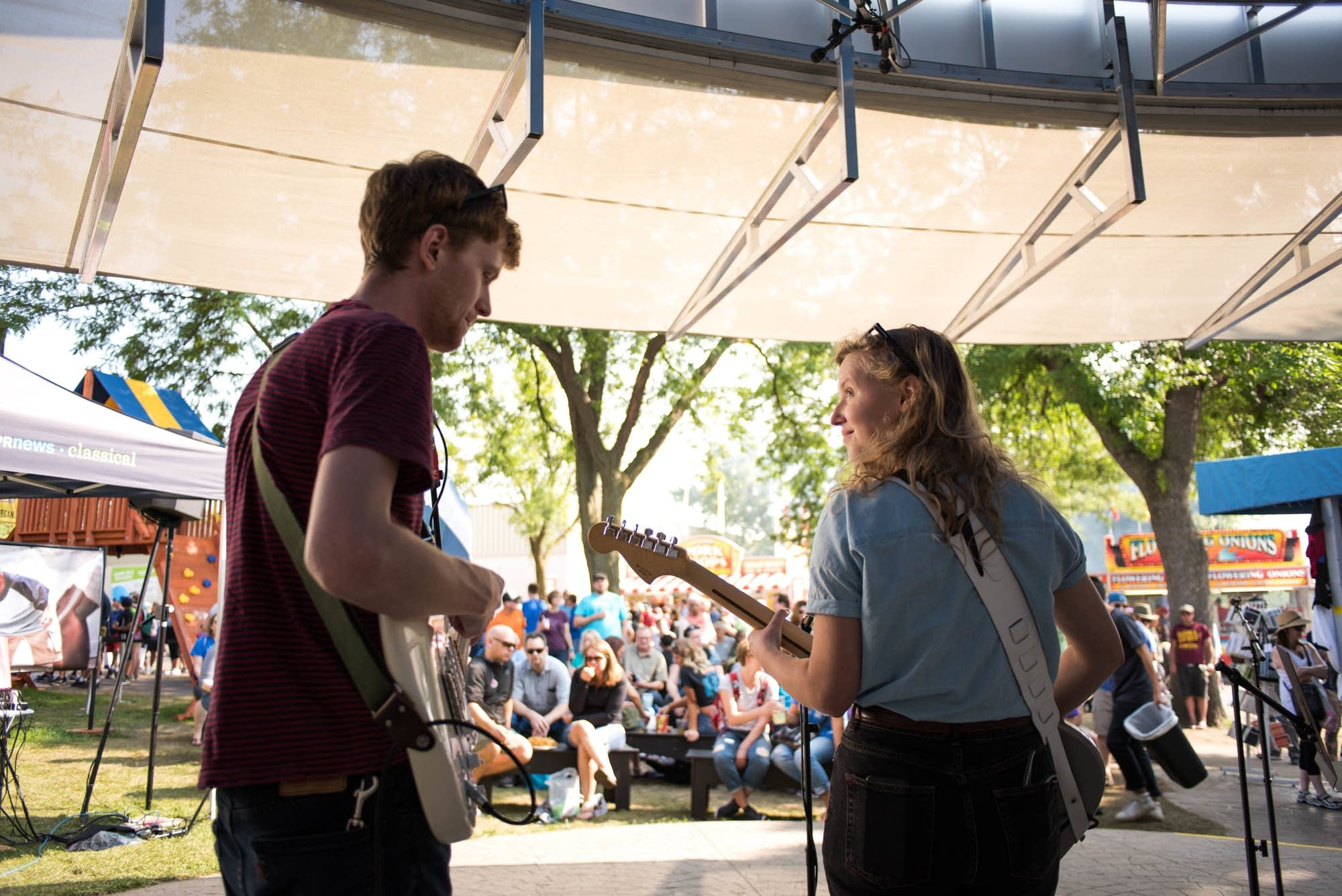 Bad Bad Hats perform at the MPR booth at the Minnesota State Fair